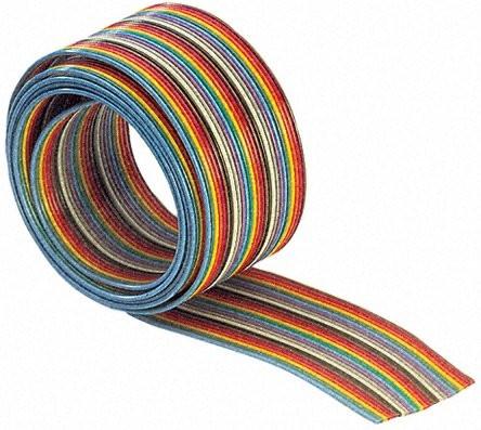 Taśma IDC AWG28 10 żył R=30.5m kolorowa