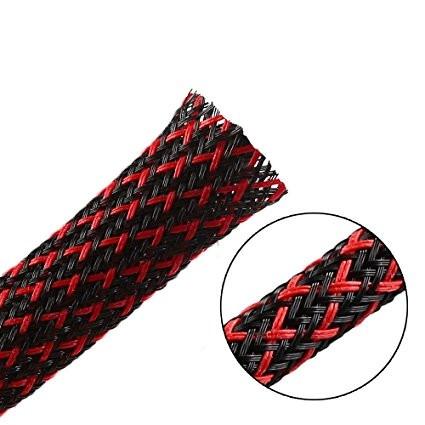 Oplot poliestrowy 4mm/8mm R=100m czarno-czerwony typ2