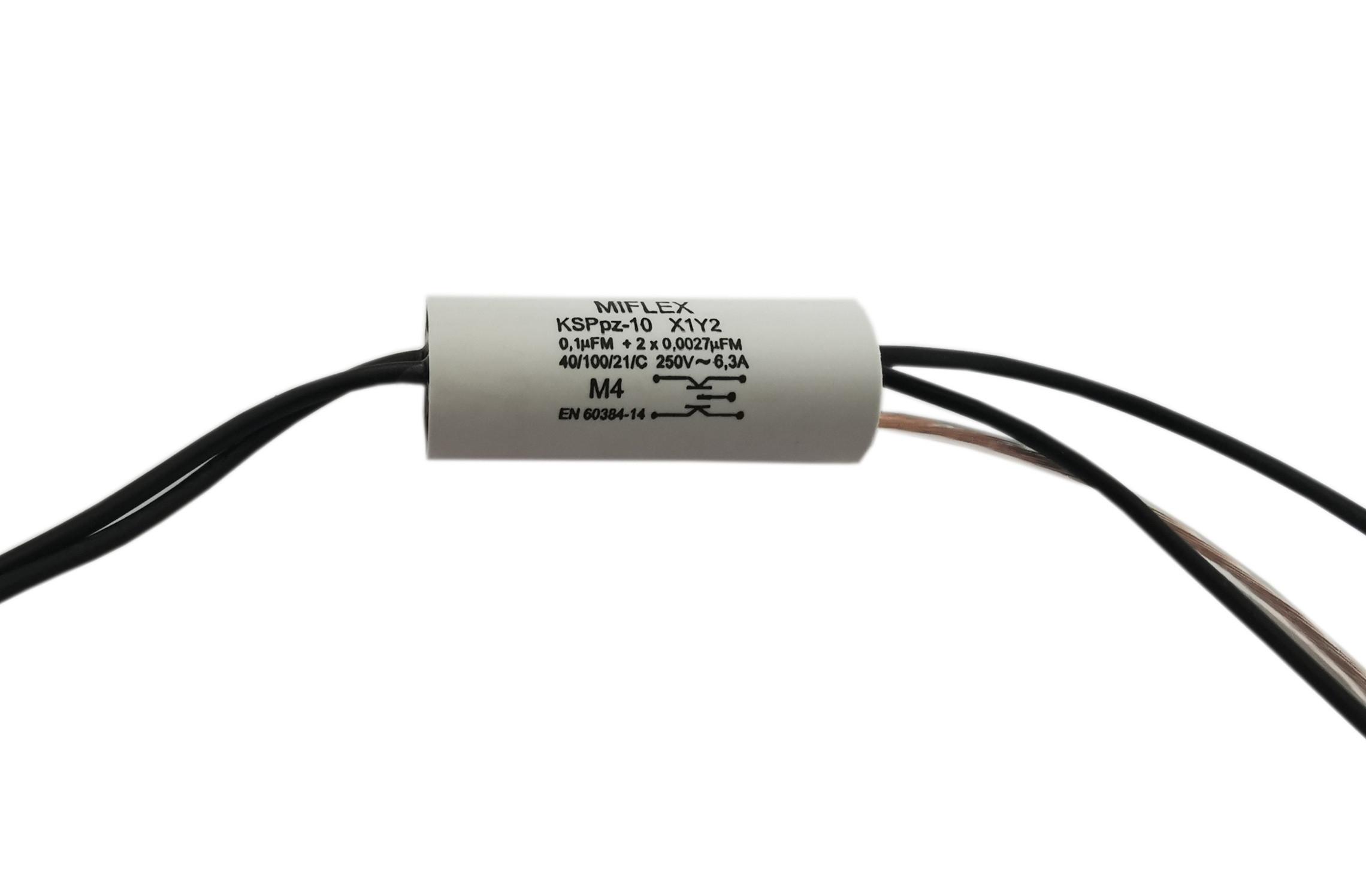 Kondensator przeciwzakłóceniowy 0.1uF + 2*2.7nF 250V KSPPZ-10