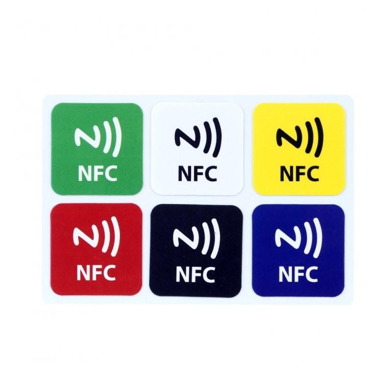 NFC TAG NTAG216 zestaw 6 kolorowych naklejek