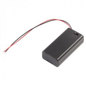 Koszyk na 2 baterie AAA 1.5V z pokrywką i wyłącznikiem
