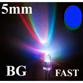 Dioda LED 5mm Niebieska/Zielona, clear szybka zmiana kolorów, 2 nogi opak=100 szt