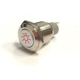 PBW-16AŻ Przycisk wandaloodporny bistabilny 2A 250V klawisz wystający symbol żarówki podśw. czerwone