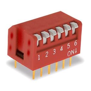 DIP Switch Piano x6 Czerwony l=28szt
