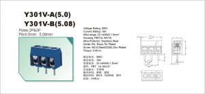 AK 5.00mm h=10mm 2pin (+) niebieskie opak=100 szt