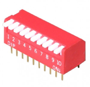 DIP Switch Piano x10 Czerwony l=18szt