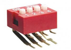DIP Switch kątowy x4 Czerwony l=40szt