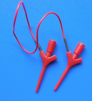 Przewód pomiarowy chwytak-chwytak czerwony l=25cm