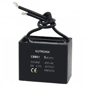 Kondensator silnikowy 1uF/450VAC z przewodami CBB61