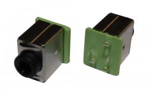 Gniazdo minijack 3.5mm z wyłącznikiem zielone