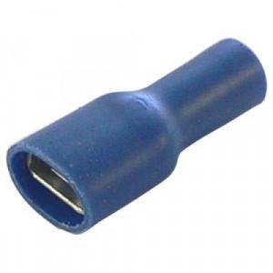 Konektor cały izolowany żeński 6.3mm niebieski opak=100 szt