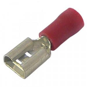 Konektor izolowany żeński 6.3mm czerwony opak=100 szt