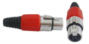 Gniazdo mikrofonowe 3 PIN montowane na kabel czerwone