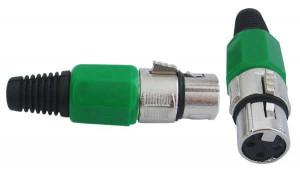 Gniazdo mikrofonowe 3 PIN montowane na kabel zielone