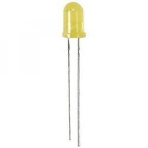 Dioda LED 5mm Żółta, matowa 30mcd opak=100 szt