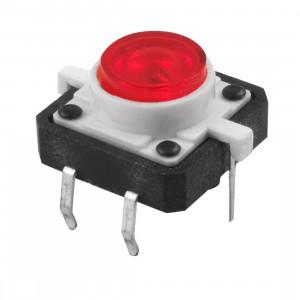 Tact Switch 12x12mm h=7mm czerwone podświetlenie