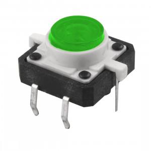 Tact Switch 12x12mm h=7mm zielone podświetlenie