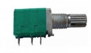 Potencjometr obrotowy 9x11 2x 500K Ohm A (logarytmiczny) z wyłącznikiem l=15mm