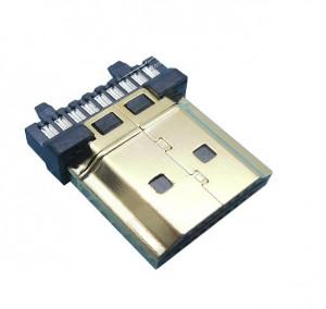 Wtyk HDMI złocony lutowany na kabel