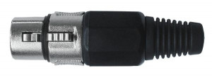 Gniazdo mikrofonowe 3 PIN montowane na kabel czarne