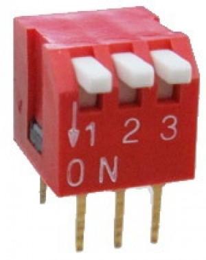 DIP Switch Piano x3 Czerwony l=50szt