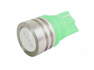 Żarówka LED 12V T10 0.6W 12mm płaska Zielona
