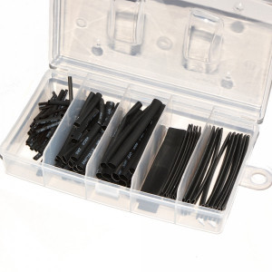 Komplet rurek termokurczliwych czarnych 123szt pudełko