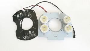 Moduł oświetlenia 4 diody 1W białe z soczewką 60°
