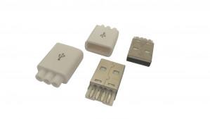 Wtyk USB typ A montowany na kabel biały, potrójne wyjście