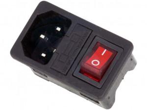 Gniazdo AC IEC męskie do obudowy na zatrzask z bezpiecznikiem i wyłącznikiem