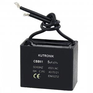 Kondensator silnikowy 0.5uF/450VAC z przewodami CBB61