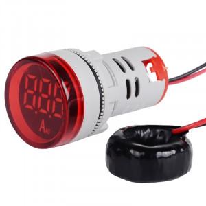 Amperomierz LED 28mm 0-100A Czerwony