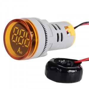 Amperomierz LED 28mm 0-100A Żółty