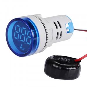 Amperomierz LED 28mm 0-100A Niebieski