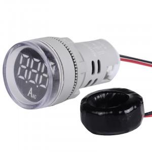 Amperomierz LED 28mm 0-100A Biały