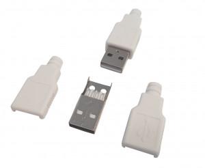 Wtyk USB typu A na kabel z osłoną Białą