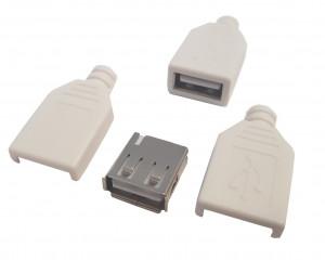 Gniazdo USB typu A na kabel z osłoną białą
