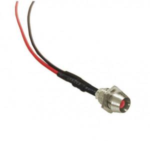 Kontrolka LED 3mm 12V DC czerwona matowa oprawka metalowa wklęsła