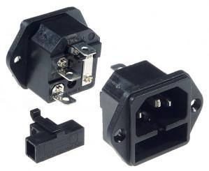 Gniazdo AC IEC męskie do obudowy z bezpiecznikiem, złącze 6.3mm