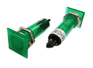 Kontrolka LED 14x14mm 12V zielona