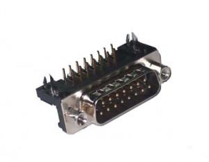 Wtyk D-SUB 15 pin 7.2 kątowy do druku