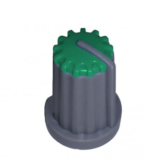 Gałka potencjometru szara 14mm GS14 zielona