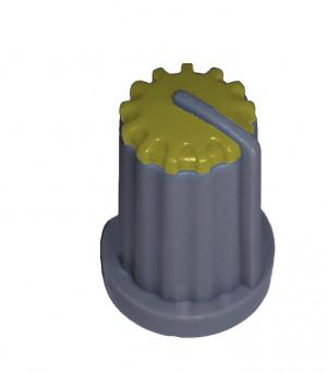 Gałka potencjometru szara 14mm GS14 żółta