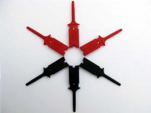 Chwytak pomiarowy haczyk l=50mm czerwony