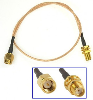 Adapter (przedłużacz) SMA męskie-SMA żeńskie, długość 20cm