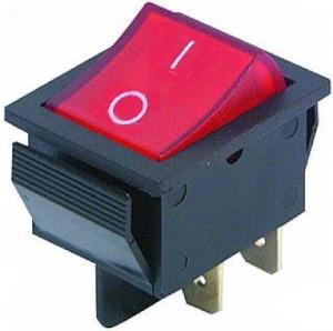 KCD4 chwilowy 15A 250V podwójny (ON)-OFF czerwony 4PIN