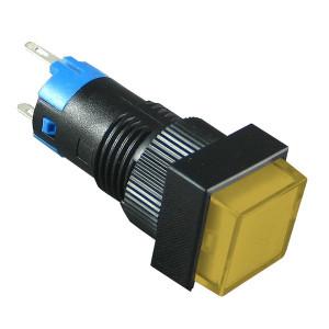 PBK-12By Przełącznik monostabilny kwadratowy żółty 3A 250V AC / 1A 30V DC, podświetlenie 12V