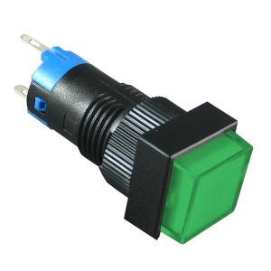 PBK-12Bg Przełącznik monostabilny kwadratowy zielony 3A 250V AC / 1A 30V DC, podświetlenie 12V