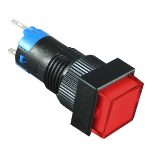 PBK-12Br Przełącznik monostabilny kwadratowy czerwony 3A 250V AC / 1A 30V DC, podświetlenie 12V
