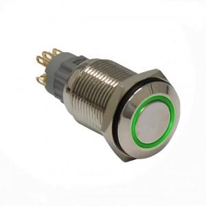 PBW-16AP Przycisk wandaloodporny, bistabilny 2A 250V klawisz płaski z zielonym podświetleniem 12V